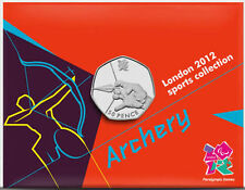 2012 50p OLYMPIC 02/29 ARCHERY COIN ON CARD BRILLIANTLY UNCIRCULATED €