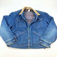 VTG Distressed Wrangler Denim Jacket Blanket Lined Corduroy Collar Western Sz 44