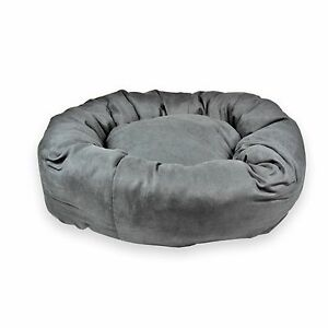 FAUX SUEDE – DONUT PET BEDS. Fashionable Black Dog Den. Small and Large Bed