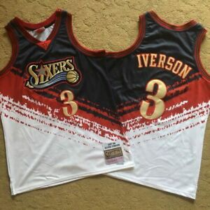 Allen Iverson #3 Philadelphia 76ers Sixers 1997-98 Multi Colors Jersey Stitched