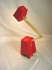 Vtg Swivel Lamp High Intensity Fold Up Mid Century Modern Light White Red Works