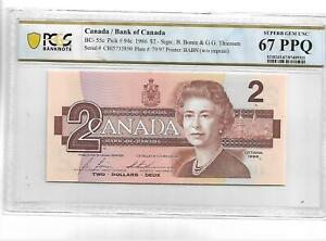 Canada Pick#94c 1986 2 DOLLARS PCGS 67 PPQ