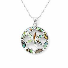 Silver Plated Abalone Shell Dragonfly Pendant and Chain