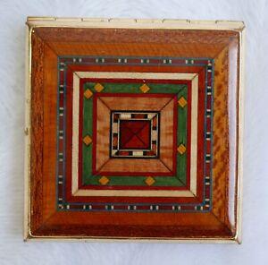 Miroir de sac à main vintage—Métal doré émaillé—Motifs géométriques