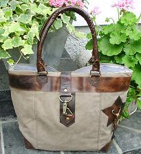 Vintage Shopper Canvas Leder Segeltuch Recycling Upcycling Tasche Strandtasche