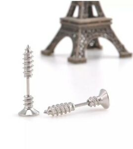 Ladies / Mens 2pc Novelty Screw Earring Colour Silver Uk Seller Free P&P