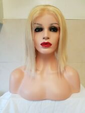 12 Inch 100% Human Hair Wig Blonde 613