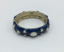 With White Cabochon Beads Fornash Blue Enamel Bracelet