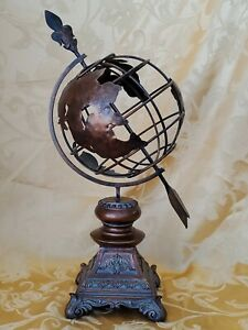 """World Globe Metal with Base-Stands 16 3/4"""" Tall Very Nice!Resin vase"""