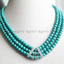 """AA+ Charming 3 rows 6mm turquoise round beads necklace 17-19"""""""