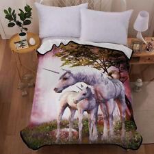 3D Parent-child Unicorn Velvet Plush Throw Blanket Sherpa Bedding Thin Quilt New