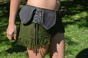 4 Leaf Leather Pocket Belt, Festival Burning Man Rave Psytrance Pixie Fairy Goa