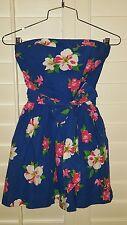 Hollister Blue Strapless Floral Summer Dress Junior XS