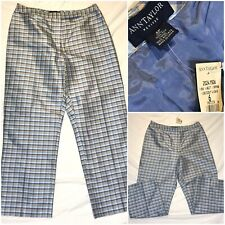 NWT Ann Taylor Womens 6 Petite 100% Silk Acetate Blue Geometric Pants 29x25
