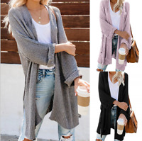 Women Long Sleeve Knitted Midi Sweater Cardigan Coat Solid Baggy Casual Knitwear