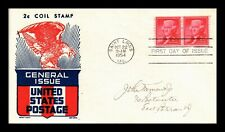 DR JIM STAMPS US THOMAS JEFFERSON 2C COIL UNSEALED FDC COVER KEN BOLL PAIR