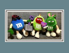 M&M's Stuffed Plush Toy Lot of 3 - Blue w/ Shovel, Red Frog Price, Green Bunny