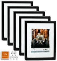 "CAVEPOP 11x14"" Mat 8x10"" Picture Frame 5 Pieces Set- Black"
