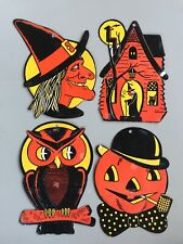 Lot of 4 Vintage Diecut Halloween Decorations Pumpkin Witch Owl House Made Usa