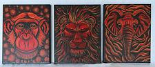 OOAK 3 Painting Canvas Red Lion Chimp Monkey Elephant Handpainted Acrylic Signed