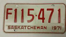 1971 SASKATCHEWAN License Plate F 115-471