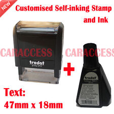 Customized Self Inking Rubber Stamp Business Name Address Logo 47x18mm Ink