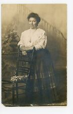 Deckerville MI Woman RPPC Antique Studio Photo—Sanilac County 1910s