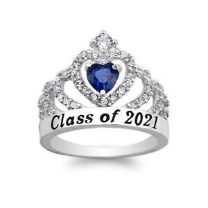 JamesJenny  10K 14K White Gold  Graduation Class of 2021 School Ring with 1.25ct Blue Topaz CZ Size 4-10