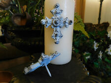 TWO, Cross Candle Pin, Pillar Candle, Victorian, Farmhouse, Shabby Chic, Crown
