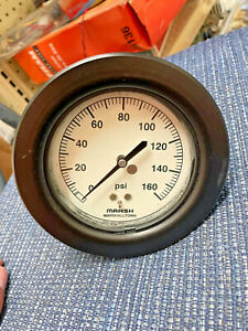 "3.5"" in. Pressure Gauge 0-160 PSI Marsh Instrument H2052 New Old Stock NOS"