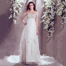 A-Line Off the Shoulder Chiffon Beaded Court Train Wedding Dresses Bridal Gown