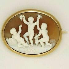 Antique Victorian French 18K Gold Hand Carved Shell Cameo Brooch Eagle Hallmark