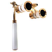 HQRP White-Gold Opera Glasses Binoculars 3x25 Optics Coated Lens with Handle