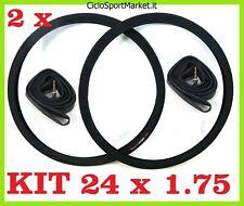 "2 x Copertoni + 2 x Camere d'aria bicicletta bici  MISURA  24"" x 1.75  Nero"