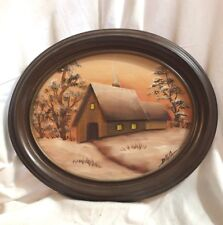 Dimensional Wood Painting Country House signed Dalia