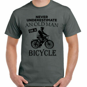 Never Underestimate An Old Man With A Bicycle Mens Funny Cycling T-Shirt Bike