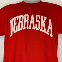 Vintage Nebraska Cornhuskers Large T Shirt University NCAA Red Single Stitch USA