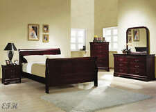 NEW 4PC SHERRY II RICH CHERRY FINISH WOOD QUEEN SIZE SLEIGH BEDROOM SET