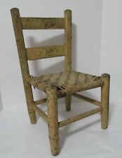 Antique 1800 Primitive Child's Chair Cane Seat Old Paint