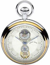Skeleton Pocket Watch Two Tone Gold and Chrome Open Face - 17 Jewel Mechanical