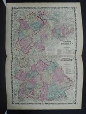 Antique Map, Johnson's, 1862 Double Page, Germany M10#34