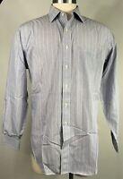 BROOKS BROTHERS  Shirt  Men's Large  Regent Blue White Striped Size 17-35