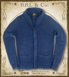 RRL Ralph Lauren Men's $595 Distressed Blue Indigo Shawl Collar Cardigan Sweater