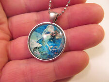 *Mystical Silver Tone Mermaid with Bubble Pendant Necklace Beach