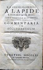 1761 CORNELIO A LAPIDE, COMMENTARIA IN ECCLESIATICUM – BIBBIA LIBRO DEL SIRACIDE