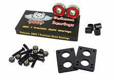 """Owlsome ABEC 7 Precision Skate Bearings w/ 1.25"""" Hardware 1/4"""" Riser Pads Spacer"""