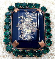 Vintage Style Czech ALL Glass Rhinestone Pin Brooch #T063 - SIGNED