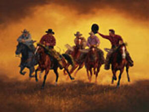 Kickin' Up Dust by Jack Sorenson Cowboy Western Open Edition Paper Print 12x16