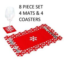 8x PLACEMATS & COASTERS SET Christmas Xmas Table Snowflake Dinner Place Mats