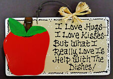 Taupe Sign APPLE Hugs~Kisses~Dishes KITCHEN Decor Wall Style Hanger Fruit Plaque